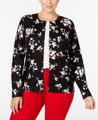 Charter Club Plus Size Printed Cardigan Only At Macy's New Red Amore Combo