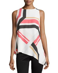 Laundry By Shelli Segal Sleeveless Graphic Print Asymmetric Top Poinsettia Red