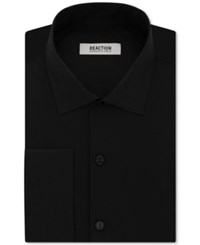 Kenneth Cole Reaction Men's Slim Fit Techni Stretch Performance French Cuff Dress Shirt Black