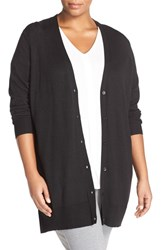 Sejour Plus Size Women's V Neck Merino Blend Cardigan