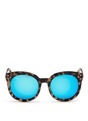 Spektre 'Isabel' Tortoiseshell Acetate Round Mirror Sunglasses Multi Colour Animal Print