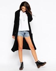 Glamorous Long Cardigan With Hood Black