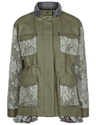 Leur Logette Khaki Lace Patch Military Jacket Green