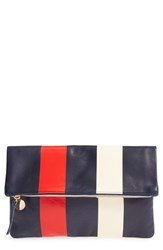 Clare V. Stripe Leather Foldover Clutch Blue Navy Glossy Red