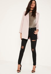 Missguided Black Anarchy Ripped Busted Knee Jeans