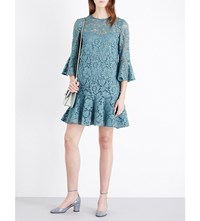 Valentino Bell Sleeve Floral Lace Mini Dress Green
