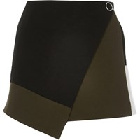 River Island Womens Black Color Block Wrap Skort