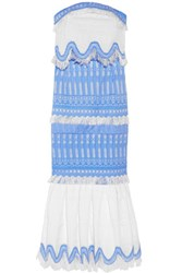 Jonathan Simkhai Strapless Cotton Blend Jacquard Midi Dress Blue