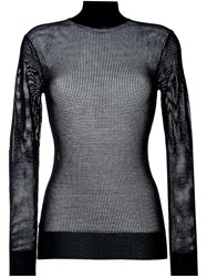 Dkny Roll Neck Mesh Jumper Black