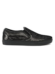 Juun.J Sequin Slip On Shoes Black