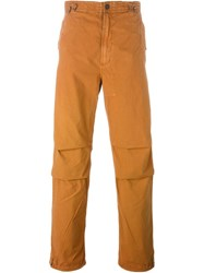 Mhi Maharishi Embroidered Calf Loose Fit Trousers Yellow And Orange