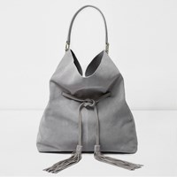 River Island Womens Grey Suede Drawstring Slouch Tote Bag
