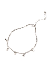 Forever 21 Rhinestoned Ball Charms Anklet Silver Clear