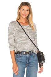Monrow Neutral Camo Crewneck Sweatshirt Gray
