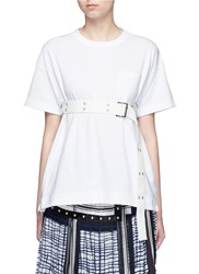Sacai Belted Cotton T Shirt White