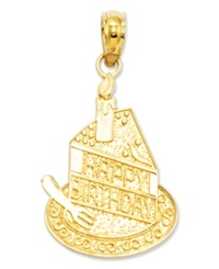Macy's 14K Gold Charm Slice Of Birthday Cake Charm