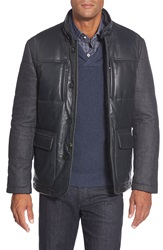 Bugatchi Quilted Leather And Wool Blend Jacket Charcoal