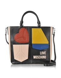 Love Moschino Color Block Eco Leather Patchwork Tote Bag Multicolor