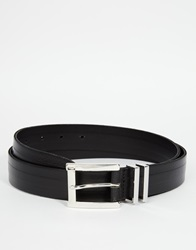 Asos Smart Leather Belt In Black With Double Metal Keeper