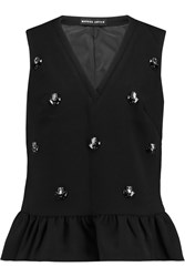 Markus Lupfer Crystal Embellished Wool Peplum Top Black