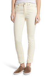 Jen7 Women's Tapestry Jacquard Ankle Skinny Jeans Winter White