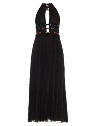 Valentino Embellished Pleated Lace Gown Black