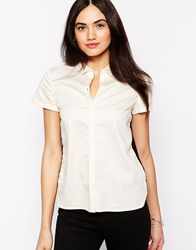 French Connection Abby Lace Short Sleeve Classic Shirt Porcelainblack