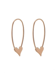 Loren Stewart Yellow Gold Heart Safety Pin Earrings