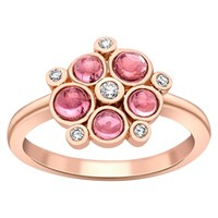 London Road 9Ct Gold Diamond Bubble Cluster Ring Rose Gold Pink Tourmaline