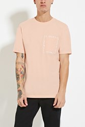 Forever 21 Abstract Graphic Pocket Tee Pink White
