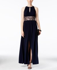 R And M Richards Gathered Keyhole Lace Trim Gown Navy