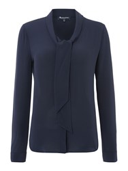 Aquascutum London Diana Pussy Bow Blouse Navy