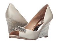 Badgley Mischka Dara Ivory Satin Women's Wedge Shoes Bone