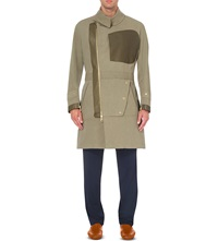 Loewe Leather Panelled Cotton Trench Coat Khaki Green