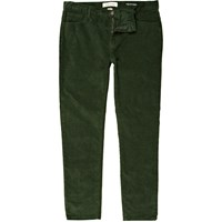 River Island Mens Green Corduroy Stretch Skinny Trousers