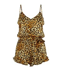 Agent Provocateur Wild Teddy Leopard Print Playsuit Female Brown