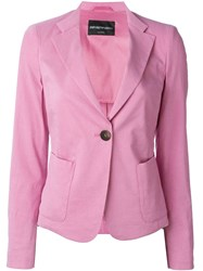 Emporio Armani One Button Blazer Pink And Purple