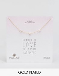 Dogeared Gold Filled Pearls Of Love Friendship Happiness Adjustable Triple Pearl Choker Necklace White Gold