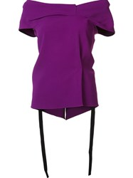 Roland Mouret Off The Shoulder Blouse Pink And Purple