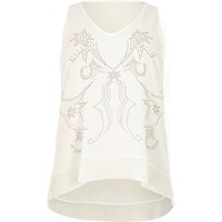 River Island Womens Ri Plus Cream Studded Western Tank Top