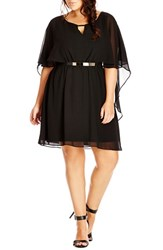 City Chic Plus Size Women's Belted Capelet Dress