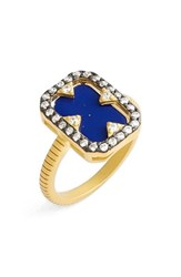 Freida Rothman Women's Rectangular Lapis Ring