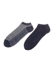 Levi's 2 Pack Of Low Cut Stripe Trainer Sock Blue