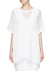 James Perse Cotton Linen High Gauge Poncho Top White