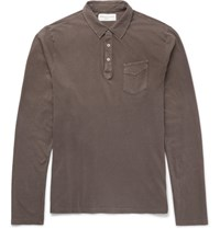 Officine Generale Garment Dyed Slub Cotton Jersey Polo Shirt Brown