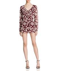 Band Of Gypsies Romantic Floral Romper Burgundy Ivory
