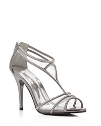 Caparros Bluebell Metallic Rhinestone T Strap High Heel Sandals Pewter