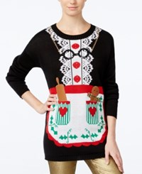 Planet Gold Juniors' Mrs. Claus Tunic Sweater Dress Black
