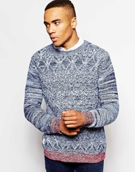 Native Youth Contrast Cable Knit Jumper Blue
