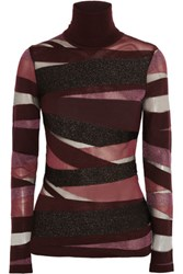 Emilio Pucci Metallic And Mesh Paneled Knitted Turtleneck Top Burgundy